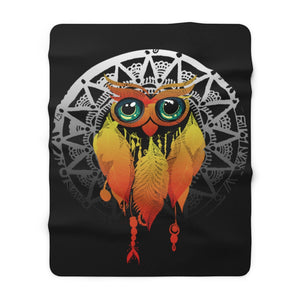Owl Dream Catcher Mandala Sherpa Fleece Blanket