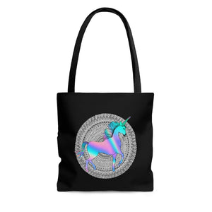 Holographic Unicorn Mandala Tote Bag