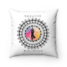 Load image into Gallery viewer, Breathe And Balance Mandala Polyester Square Pillow
