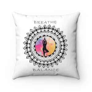 Breathe And Balance Mandala Polyester Square Pillow
