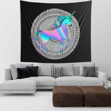 Load image into Gallery viewer, Holographic Unicorn Mandala Wall Tapestries