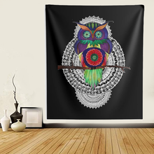 Load image into Gallery viewer, Psychedelic Owl Mandala Wall Tapestries