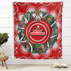 Merry Christmas Bouquet Mandala Wall Tapestries