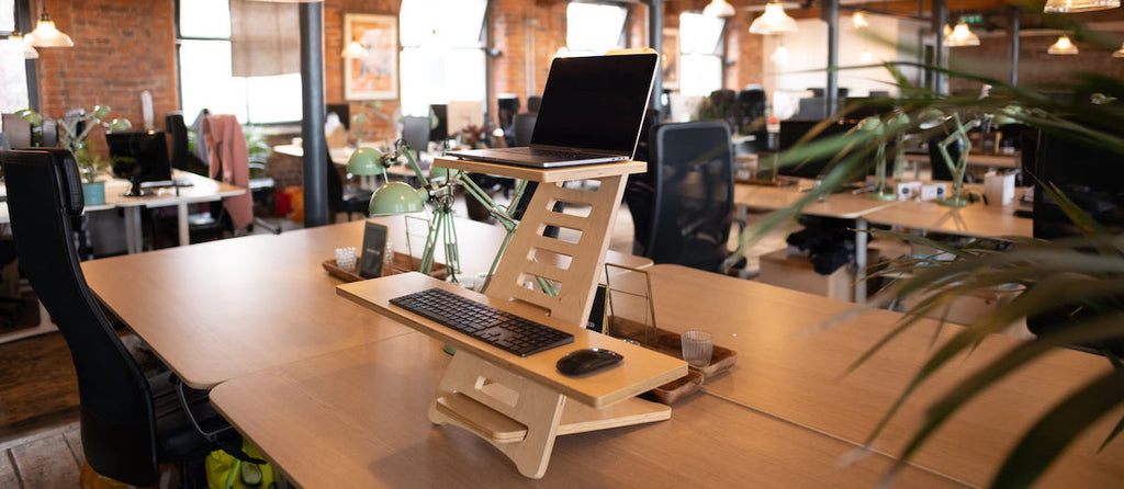office space with standing desk