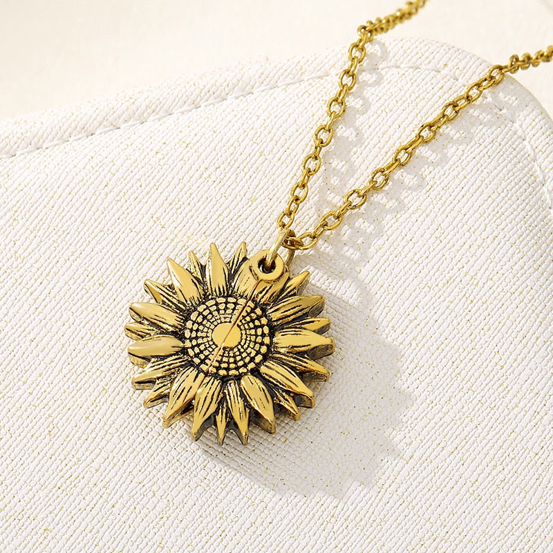 Sunflower Necklaces For Women Stainless Steel Open Locket