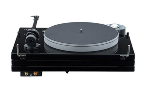 Music Hall MMF-9.3 Piano Black Rear Photo. Shows the platter, back of the tonearm, and belt.