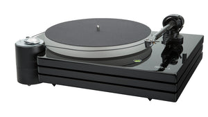 Music Hall MMF-9.3 Piano Black Isolated motor, tonearm  with Goldring Eroica MC cartridge, platter, belt, and triple plinth construction shown.