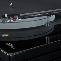 Music Hall MMF-9.3 Piano Black Tonearm  with Goldring Eroica MC cartridge, platter, belt, and triple plinth construction shown.