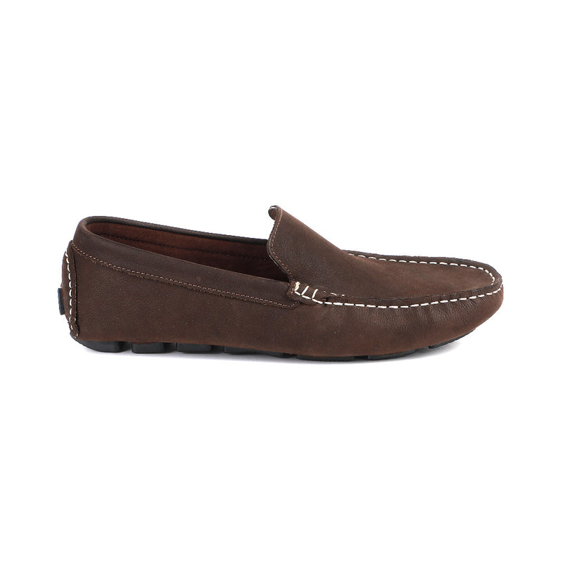 100% Suede Leather Brown Moccasin at 40% Discount Soft Cushioned, Textured rubber outsole, Indoor Outdoor Slipper Shoe