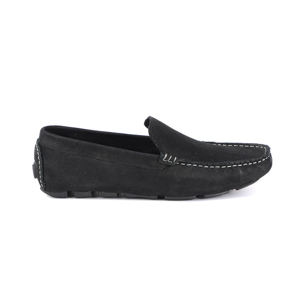 100% Suede Leather Black Moccasin at 40% Discount Soft Cushioned, Textured rubber outsole, Indoor Outdoor Slipper Shoe