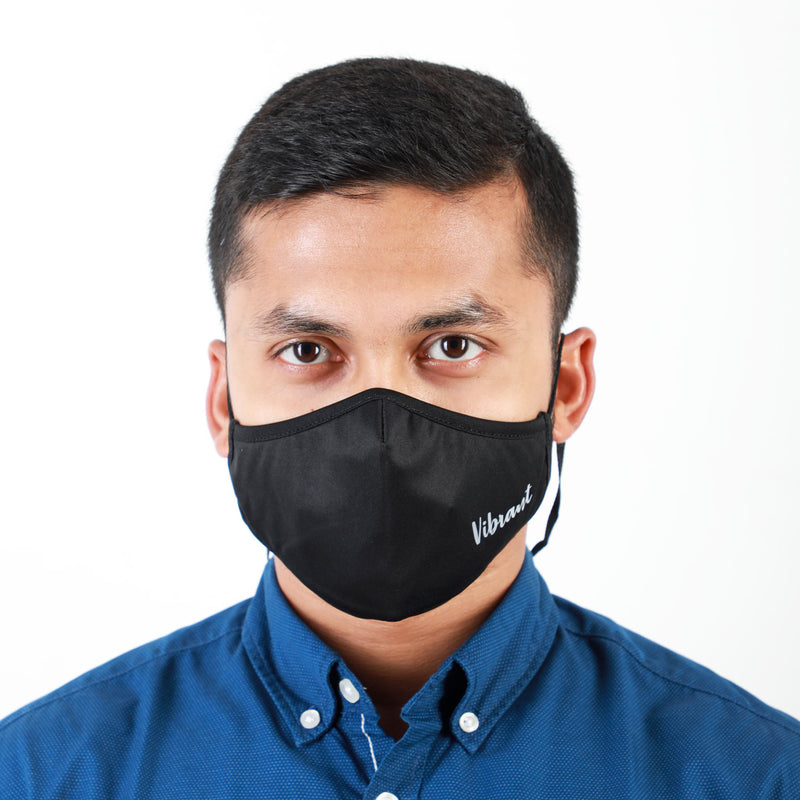 BLACK FACE MASK WITH NECK STRAP