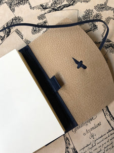 Leather notebook - Dark Blue  13 cm x  9 cm / 革のカバーノート (濃紺)