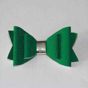 Green Fine Glitter Double Bow