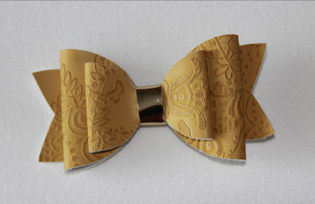 Embossed Mustard Double Bow