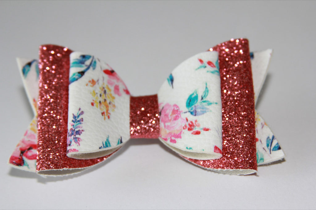 Rose Pink Spring Flower Double Bow