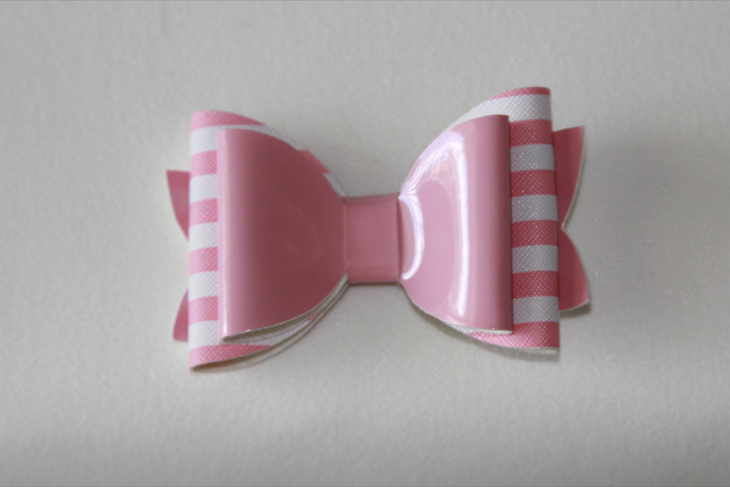 Glossy Light Pink Stripe Double Bow