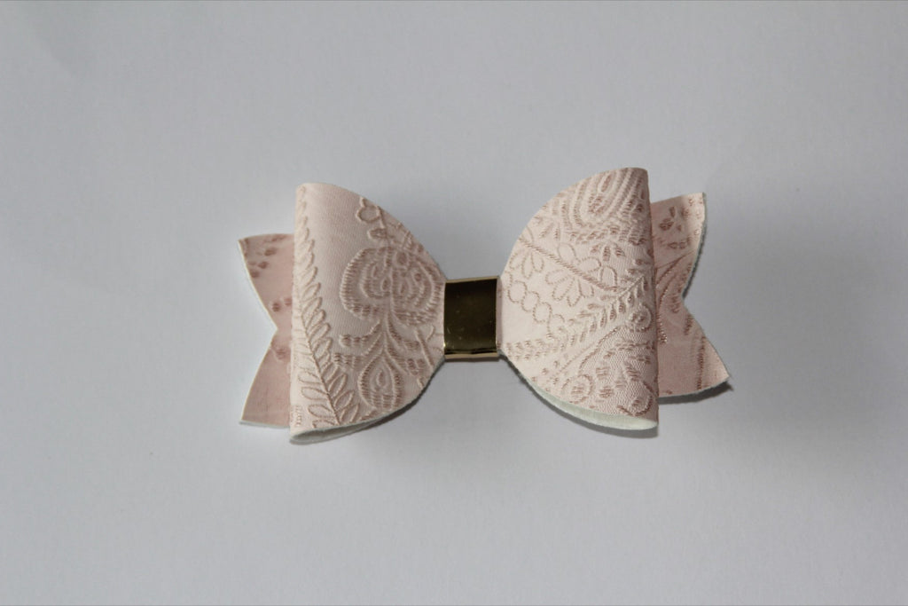 Embossed Pale Pink Single Bow