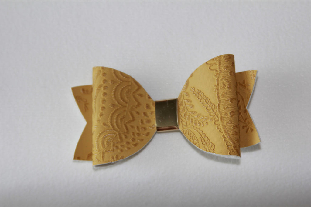 Embossed Mustard Single Bow