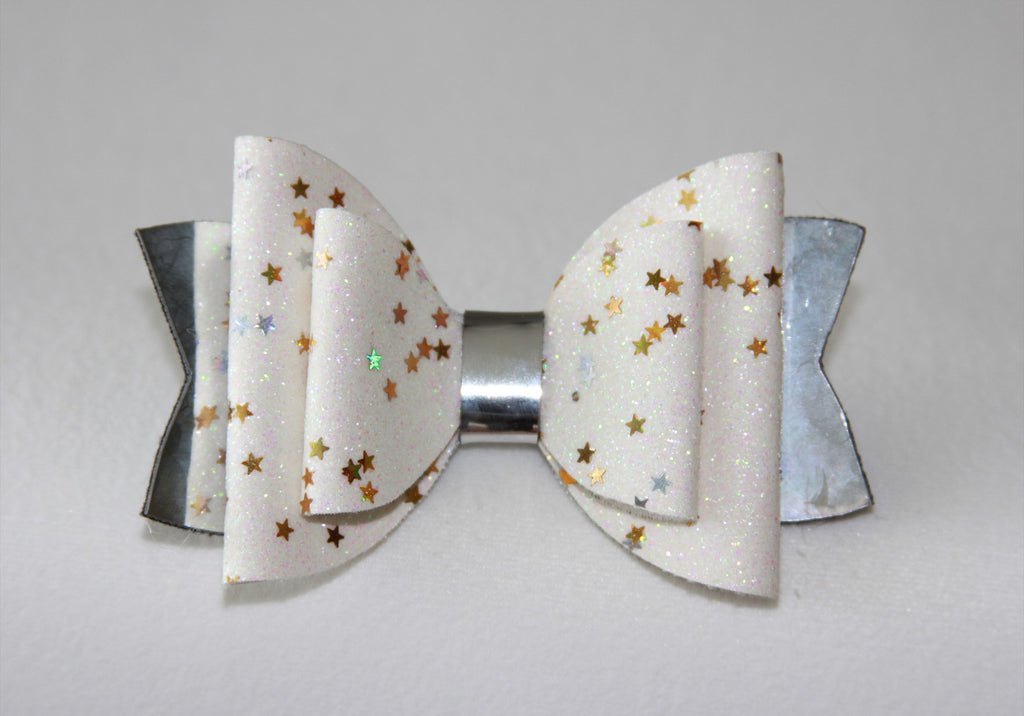 White and Silver Starry Night Double Bow