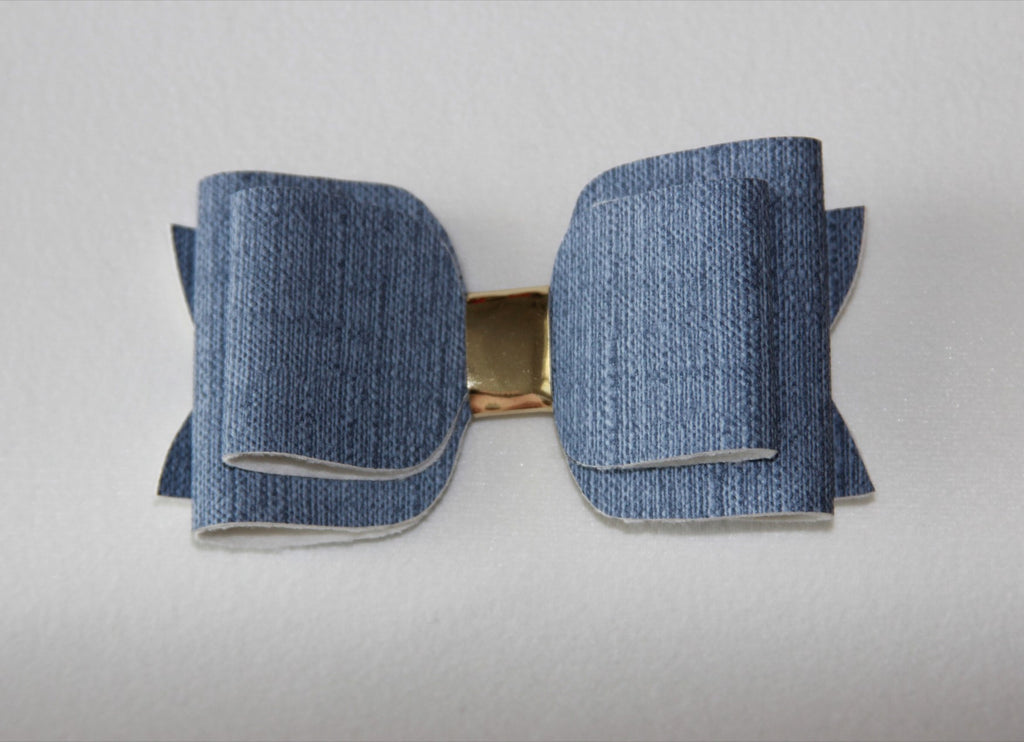 Light blue Jean Double Bow
