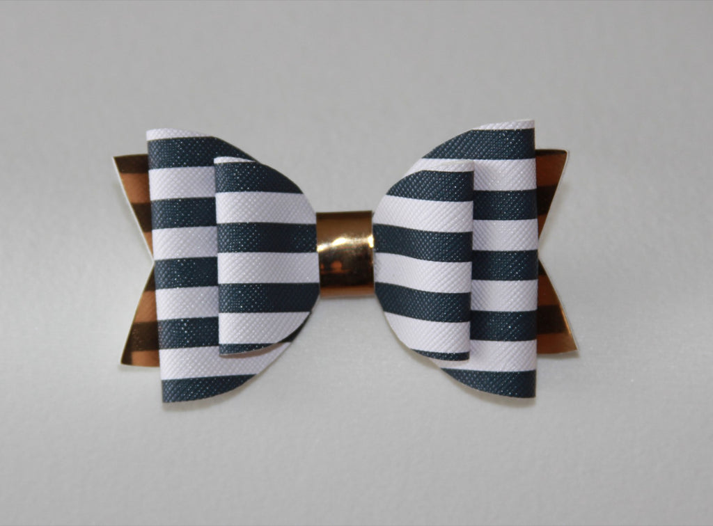 Navy Stripe Double Bow