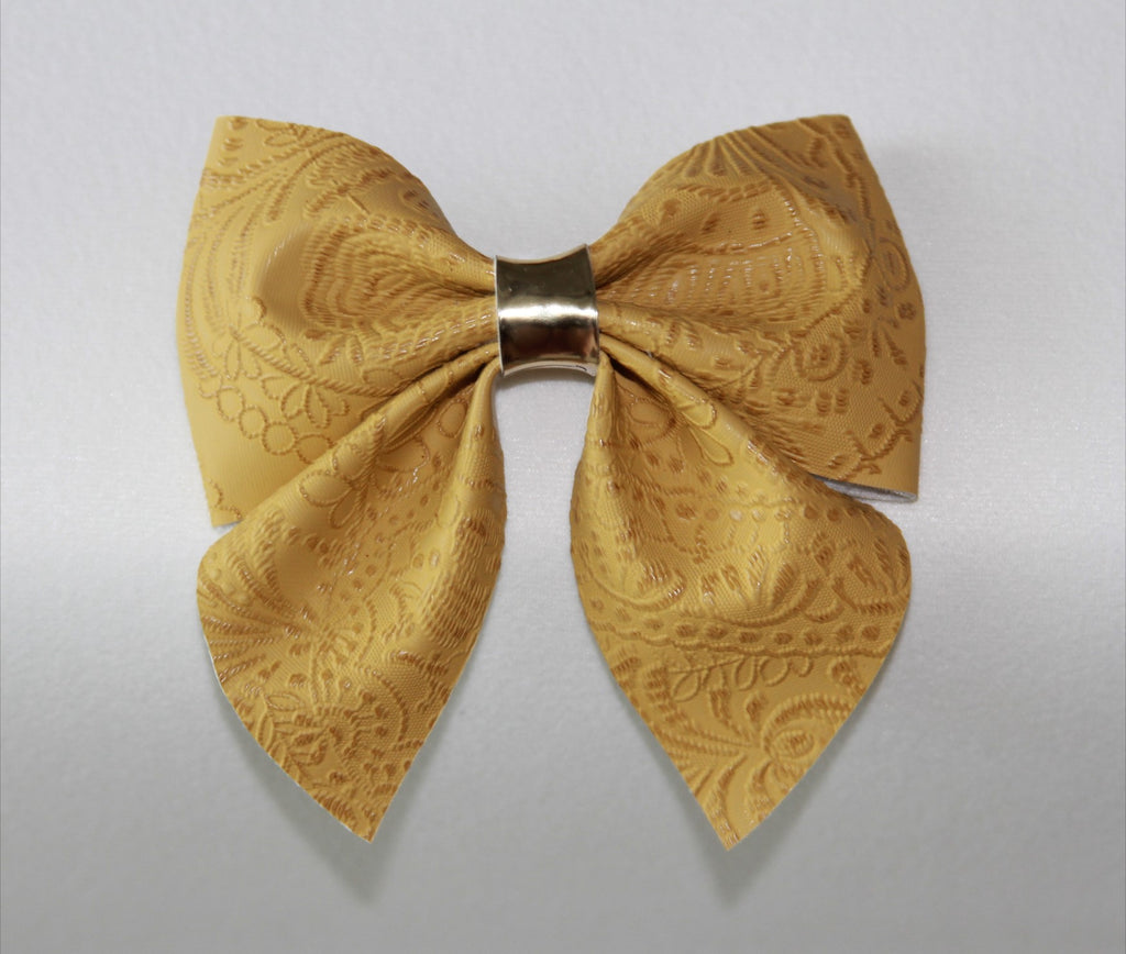 Embossed Floral Mustard Sailor Bow