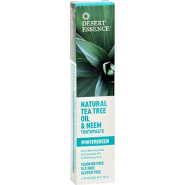 Desert Essence - Natural Tea Tree Oil and Neem Toothpaste Wintergreen - 6.25 oz