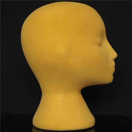 Yellow Foam Mannequin Head Holder Human Hair Wig Model Practical Display
