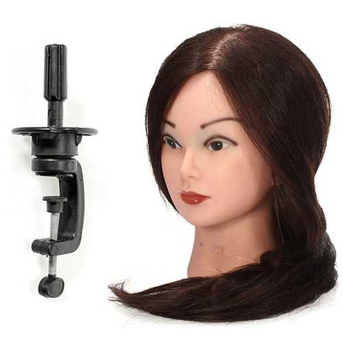 18 inch Long Real Human Hair Practice Models Hairdressing Training Head with Clamp