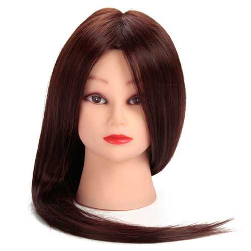 Brown 50% Real Human Hair Training Head Hairdressing Practice Cutting Mannequin Clamp Holder