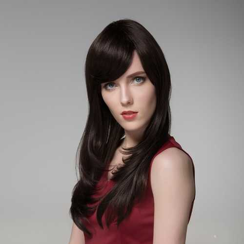 8 Colors Side Bang Long Wigs Human Hair Virgin Remy Mono Top Capless Wig