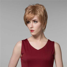 Lady Short Cool Straight Human Hair Wig Virgin Remy Mono Top Capless Side Bang Women 14 Colors