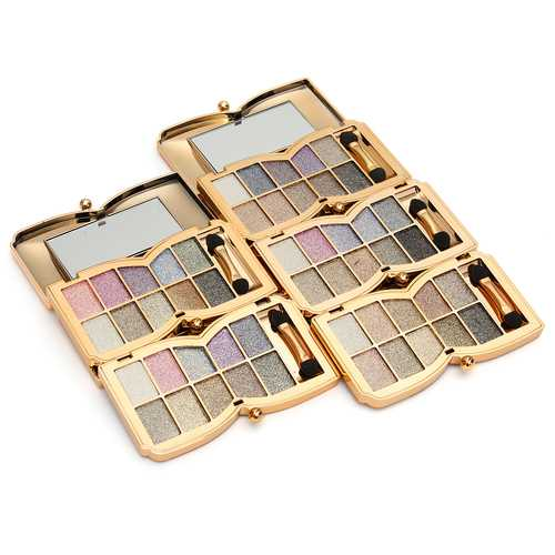 10 Colors Diamond Shiny Shimmer Eyeshadow Palette Mirror Brush Eye Makeup Comestic