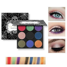 TZ COSMETIX 9 Colors Skull Eye Shadow Palette Halloween Matte Shimmer Diamond Foiled Makeup Cosplay