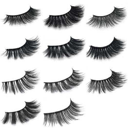 1Pair 3D Mink Hair Black False Eyelashes