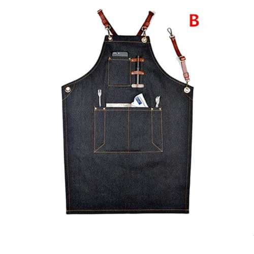 Denim Bib Apron Leather Strap Hairtician Barista Work Robes