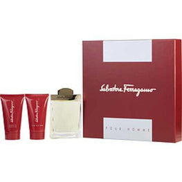 Salvatore Ferragamo Edt Spray 3.4 Oz and After Shave Balm 2.5 Oz and Shampoo And Shower Gel 2.5 Oz For Men