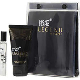 Mont Blanc Legend Night Eau De Parfum Spray .25 Oz and Aftershave Balm 1.7 Oz For Men