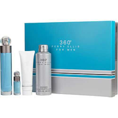 Perry Ellis 360 Edt Spray 3.4 Oz and Shower Gel 3 Oz and Deodorant Body Spray 6.8 Oz and Edt Spray .25 Oz Mini For Men
