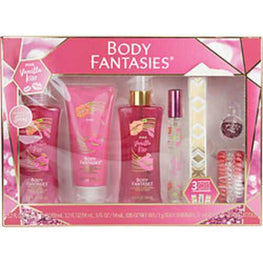 Body Fantasies Pink Vanilla Kiss Fantasy Body Spray 3.2 Oz and Lotion Cream 2 Oz and Body Wash 3.2 Oz and Edt Spray .5 Oz and Body Shimmer, 3 - Hair Ties, 3 - Flash Tattoos For Women