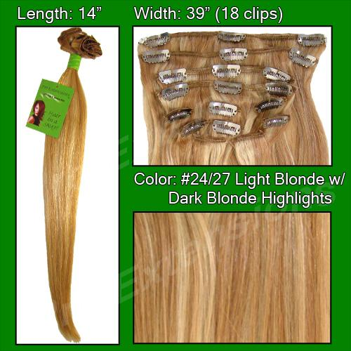 #24/27 Light Blonde w/ Dark Blonde Highlights - 14 inch