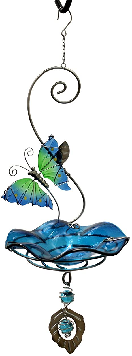 Heath Outdoor Products Butterfly Bliss Bird Feeder or Bath, Blue