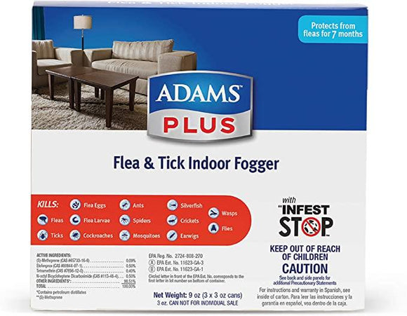 Adams Plus Flea & Tick Indoor Fogger (3 pack)