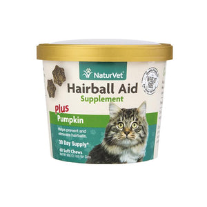 NaturVet Hairball Aid Supplement Plus Pumpkin Cat Soft Chews, 60 count