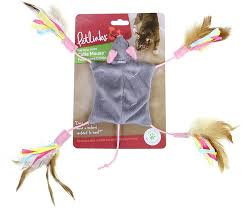 Petlinks Cutie Mouse Feathered Crinkle Toy