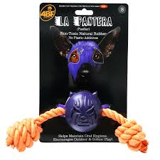 4BF La Pantera (Panther) Rubber Ball With Rope Dog Toy, Small