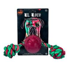 4BF El Loco (Crazy) Rubber Ball With Rope Dog Toy, X-Large