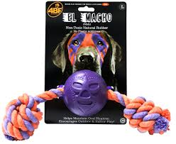 4BF El Macho (Male) Rubber Ball With Rope Dog Toy, Large