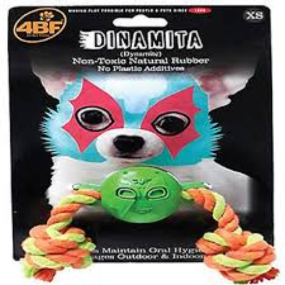 4BF Dinamita (Dynamite) Rubber Ball With Rope Dog Toy, X-Small