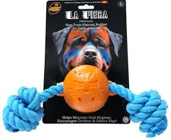 4BF La Fiera (The Beast) Rubber Ball with Rope Dog Toy, Large